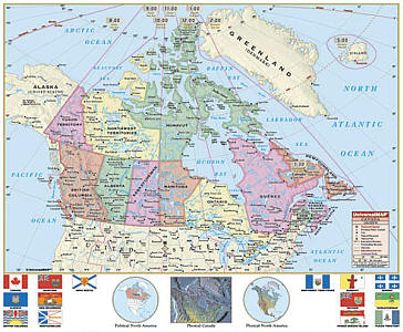 """Canada Primary """"Classroom"""" WALL Map Railed."""