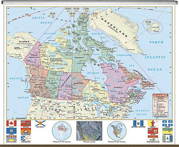 """Canada Primary """"Classroom"""" WALL Map On Roller with Backboard."""