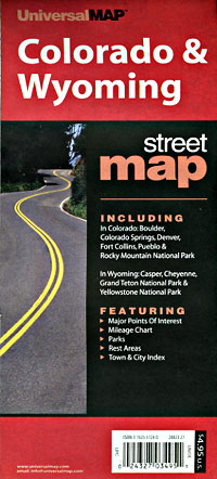 Wyoming and Colorado, Road and Tourist Map, America.