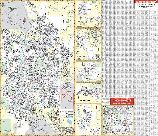 Colorado Springs WALL Map, Colorado, America.