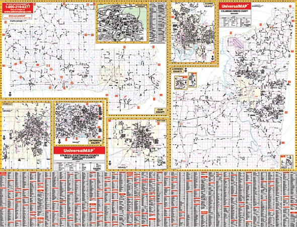 Columbus and Starkville WALL Map, America.