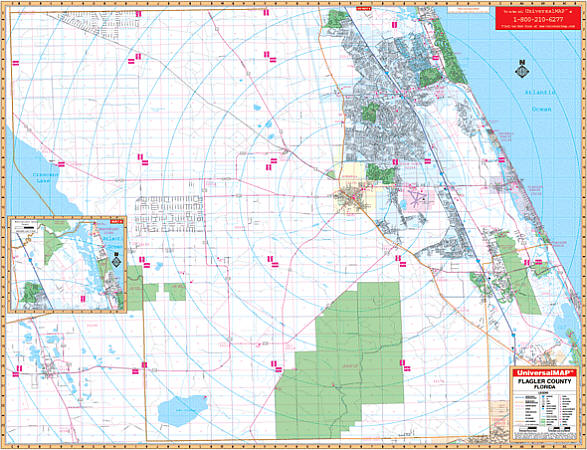 Flagler WALL Map, Florida, America.