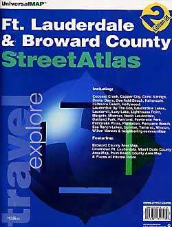 Fort Lauderdale and Broward County Street ATLAS, Florida, America.