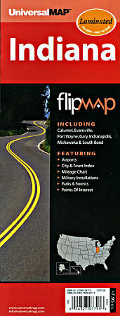 """Indiana """"Flipmap"""" Road and Tourist Map, America."""