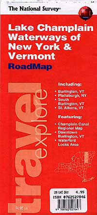 """Vermont and New York """"Lake Champlain of Waterways"""" Road and Tourist Map, America."""