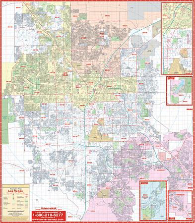 LAS VEGAS WALL Map, Las Vegas, America.