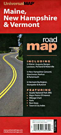 Maine, New Hampshire and Vermont Road and Tourist Map, America.