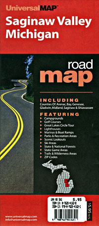 "Michigan ""Saginaw Valley"" Road and Tourist Map, America."