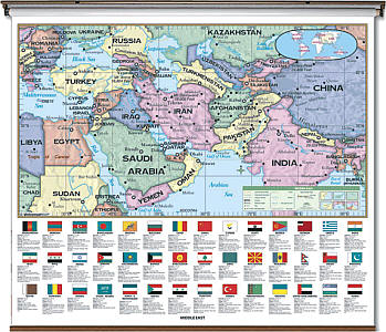 """Middel East Essential """"Classroom"""" WALL Map On Roller with Backboard."""