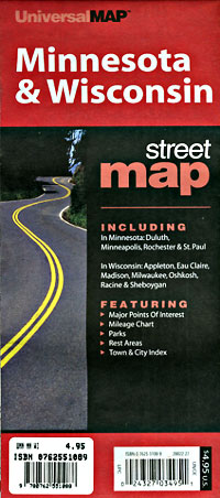 Minnesota and Wisconsin Road and Tourist Map, America.