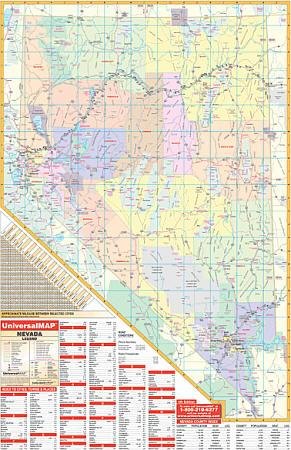 Nevada WALL Map, America.