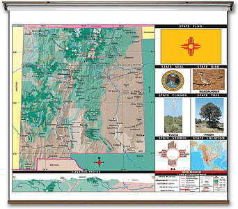 "New Mexico State Thematic Primary ""Classroom"" K-2 WALL Map with Backboard."