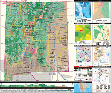 "New Mexico Thematic Secondary ""Classroom"" 3-8 WALL Map."