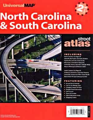 North Carolina and South Carolina Street ATLAS, North Carolina, America.