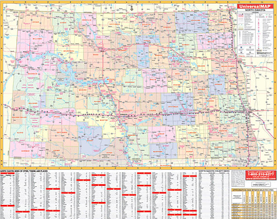 North Dakota WALL Map.