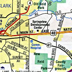 Ohio Road and Tourist Map, Ohio, America.