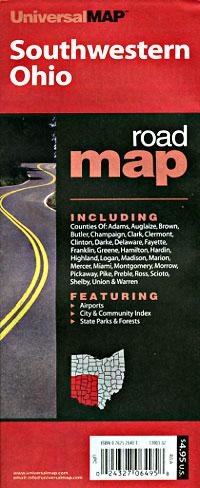Ohio Southwestern Regional Road and Tourist Map, America.