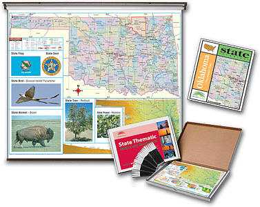 Oklahoma Thematic WALL Map and Deskpad Map Set and Study Guide.