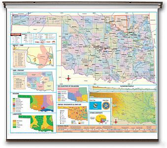 """Oklahoma Thematic Secondary """"Classroom"""" 3-8 WALL Map."""