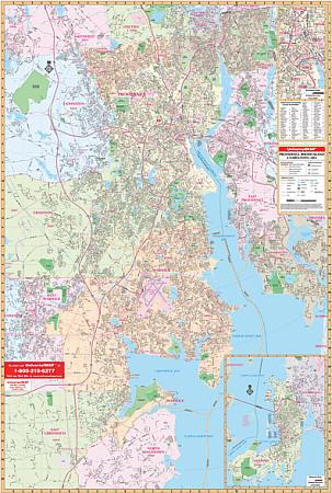 Providence WALL Map, Rhode Island, America.
