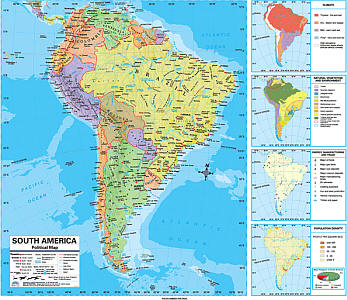 """South America Advanced Political """"Classroom"""" WALL Map On Roller with Backboard."""