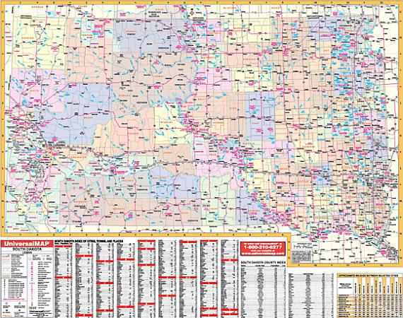 South Dakota WALL Map, America.