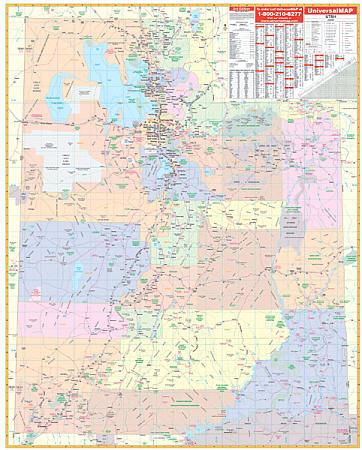 Utah WALL Map, America.
