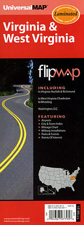 "Virginia and West Virginia ""Flipmap"" Road Map, America."