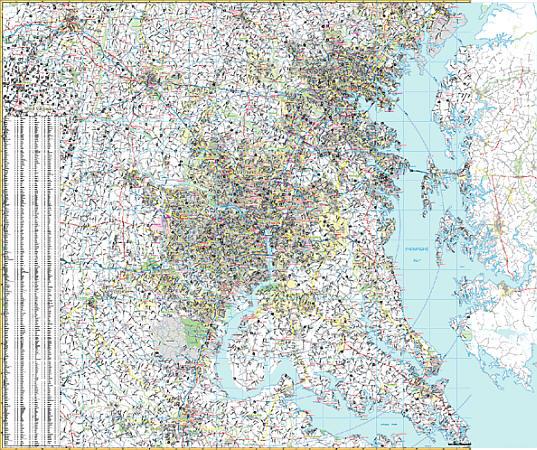 Washington, DC Vicinity WALL Map, America.