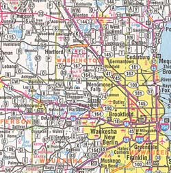 Wisconsin Road and Tourist Map, America.