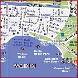 Hawaii Streetsmart Road and Tourist Map, America.