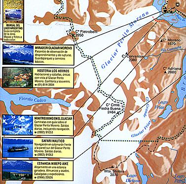 Los Glaciares ( The Glaciers) National Park, Road and Topographic Travel Map, Argentina.