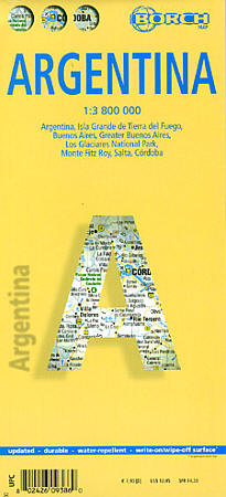 Argentina Road and Physical Travel Reference Map.