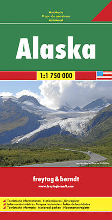 Alaska Road and Shaded Relief Tourist Map.