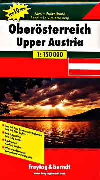 Austria, Upper (Southern) Top Ten Tips, Road and Shaded Relief Tourist Map.