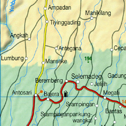 Bali, Lombok and Komodo Road and Shaded Relief Tourist Map, Indonesia.
