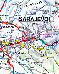Bosnia and Herzegovina, Road and Tourist Map.