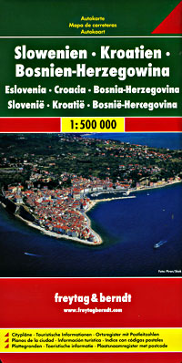 Slovenia, Croatia, Bosnia-Herzegovina, Road and Tourist Map.