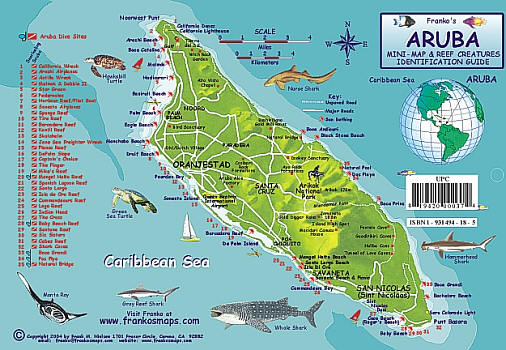 Aruba Reef Creatures Guide Map, Netherlands Antilles, West Indies.