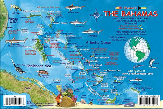 Bahamas Mini Map and Reef Fishes Guide.