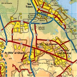 Bahrain Road and Physical Shaded Relief Map.