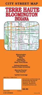 Bloomington and Terre Haute City Street Map, Indiana, America.