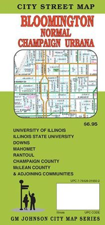 Bloomington, Champaign, Urbana City Street Map, Illinois, America.