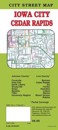 Cedar Rapids City Street Map, Iowa, America.
