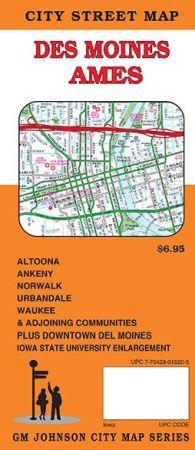 Des Moines, Ames City Street Map, Iowa, America.