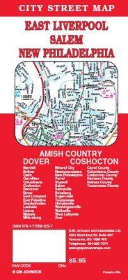 Dover, New Philadelphia, East Liverpool and Coshocton City Street Map, Ohio, America.