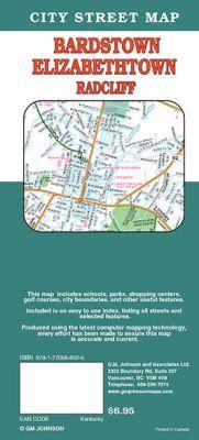 Elizabethtown, Bardstown and Radcliff City Street Map, Kentucky, America.