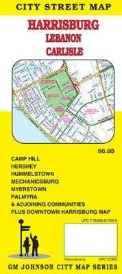 Harrisburg, Lebanon and Carlisle, City Street Map, Pennsylvania, America.