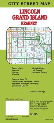 Lincoln, Grand Island and Kearney City Street Map, Nebraska, America.
