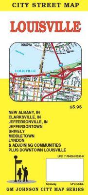 Louisville City Street Map, Kentucky, America.